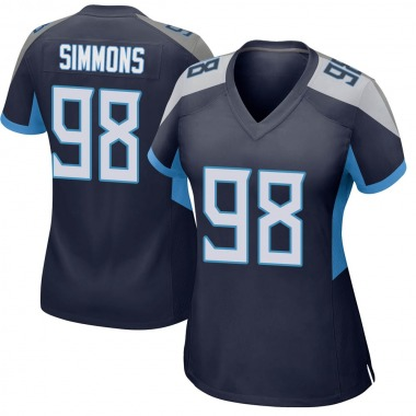 Women's Nike Tennessee Titans Jeffery Simmons Jersey - Navy Game